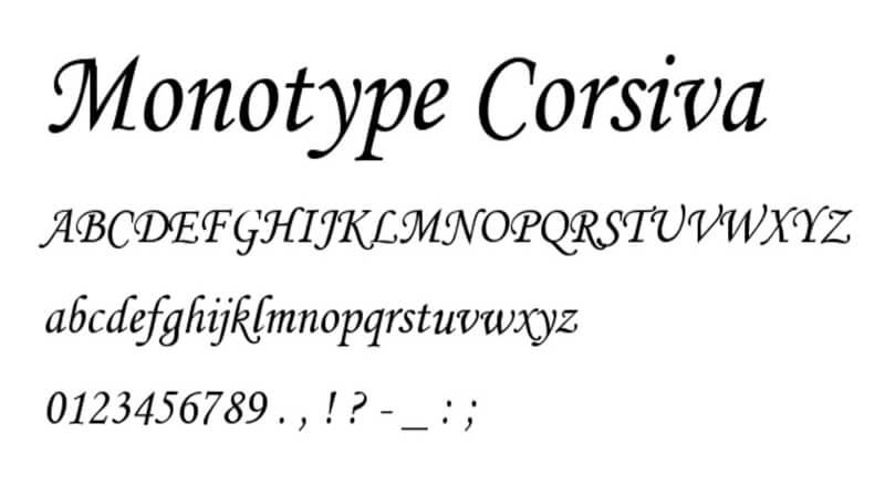 Monotype corsiva bold free font